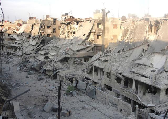 Destroyed buildings at Al Khalidieh in Homs, Syria, on October 7, 2012