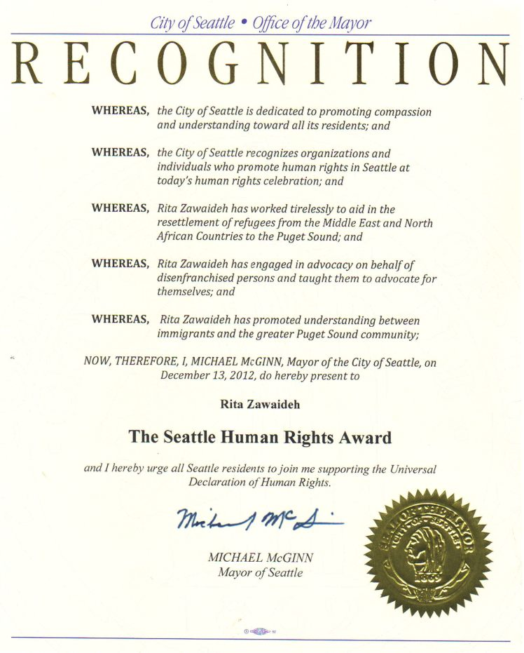 Rita Zawaideh received the Seattle Human Rights Award last week in Seattle. Congratulations - it's well deserved!