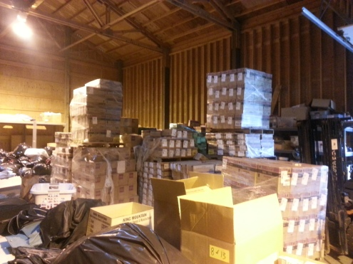 Donated toys waiting to be loaded and shipped from our warehouse in Bothell.