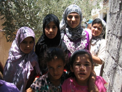 Girls at a village just across the border from Daraa