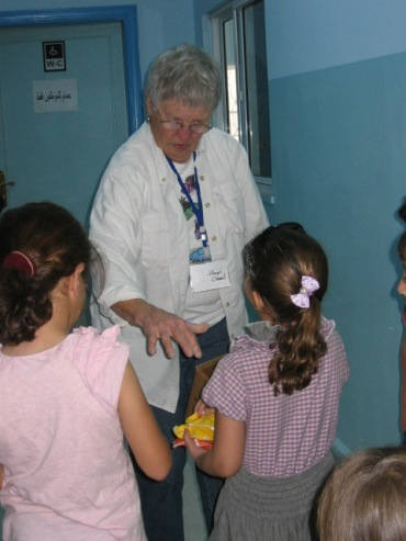 Beryl working with some of the children