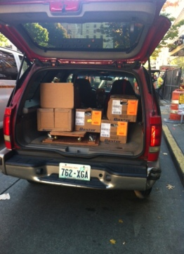 Rita's car full and ready to go to the warehouse in Bothell