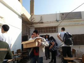 Unloading supplies at the clinic in Deir Alla.