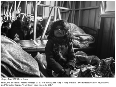 """Fatima, five, left her home when the war began and had been travelling from village to village ever since. """"If we had family where we stayed that was good,"""" her mother Eida said. """"If not then we would sleep in the fields."""""""
