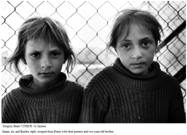Samar, six, and Bushra, eight, escaped from Homs with their parents and two-year-old brother.