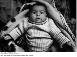 Hajer, three months old, arrived from the village of Inkhil in Dara'a.