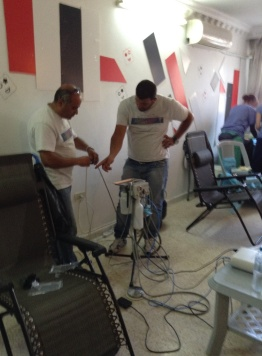 Setting up the dental clinic area