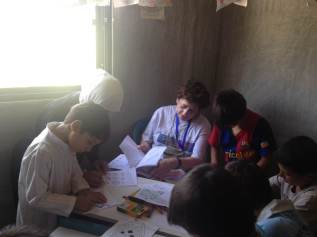 Working with the children on the first day of the mission