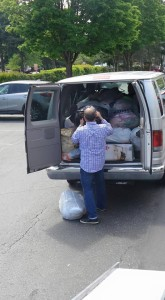 A van loaded with more donations