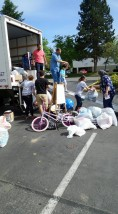 Donations waiting to be loaded into the truck