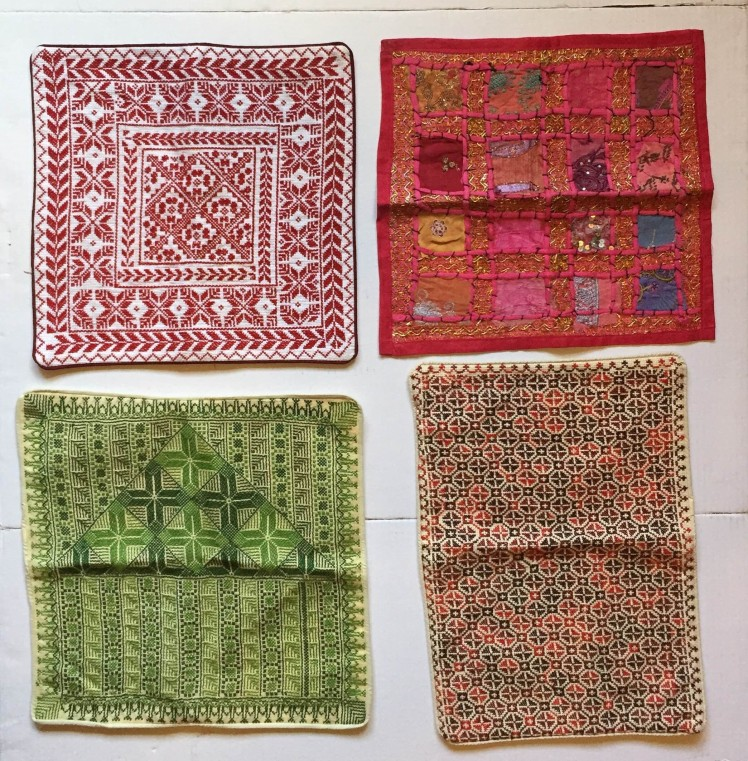 Hand embroidered pillow cases; Red, Green, & Pink (15