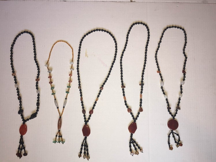 Natural stone beaded necklace; Please specify which one is your favorite (Left, Left Middle, etc) and we'll send it to you!